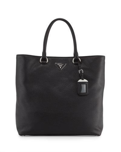 Prada Vitello Daino North-South Tote Bag, Black (Nero)