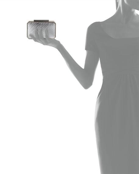Katrina Leather Minaudiere Evening Clutch Bag, Silver