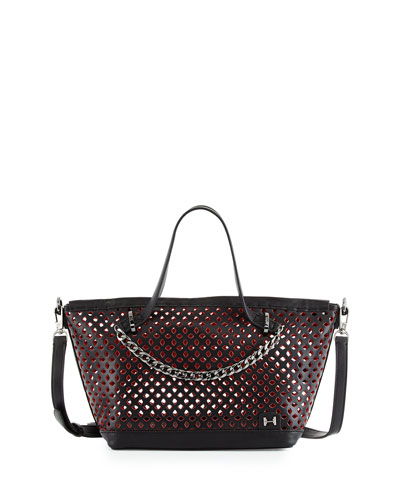 Halston Heritage Perforated Leather Small Satchel Bag ef460070d8a28