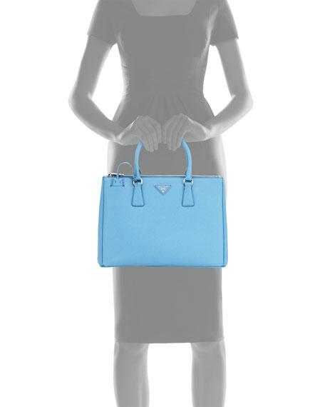 Saffiano Lux Medium Double-Zip Tote Bag, Light Blue (Mare)