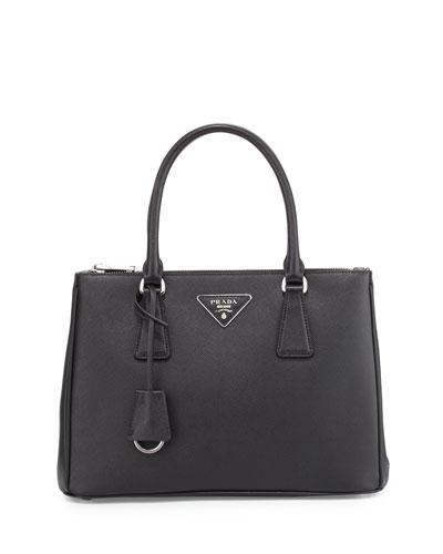Prada Saffiano Lux Double-Zip Tote Bag, Black (Nero)