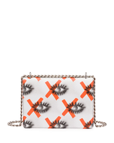 prada daino lip-print leather shoulder bag