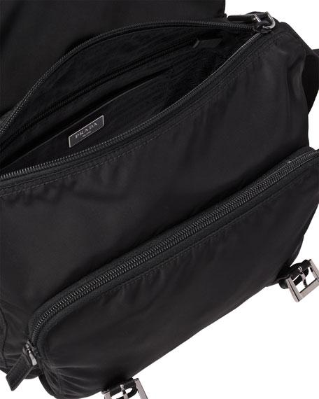 Vela Small Double-Pocket Messenger Bag, Black (Nero)