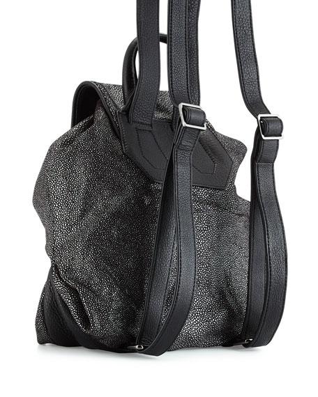 Pebbled-Leather Backpack, Black