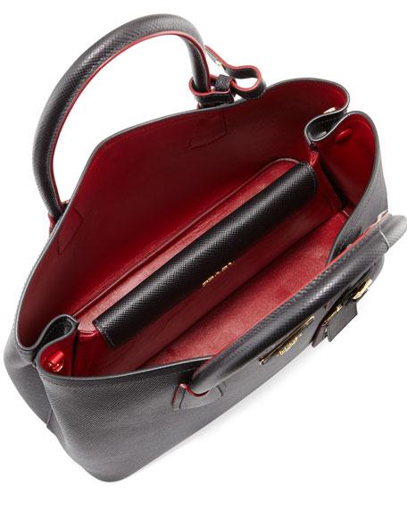 Prada Saffiano Cuir Double Medium Tote Bag, Black/Red (Nero Fuoco ...