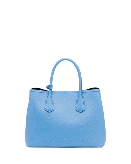 Saffiano Cuir Double Small Tote Bag, Light Blue/Dark Blue (Mare+Bluette)