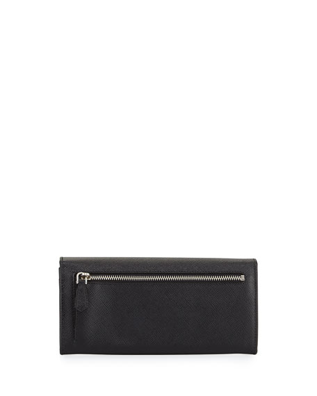 Saffiano Continental Flap Wallet, Black (Nero)