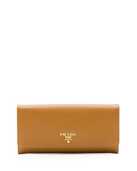 Prada Saffiano Continental Flap Wallet, Caramel (Caramel)