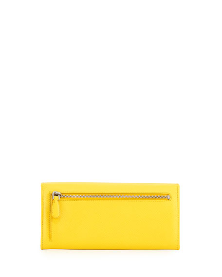 Saffiano Continental Flap Wallet, Yellow (Sole)