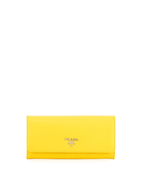 Prada Saffiano Continental Flap Wallet, Yellow (Sole)