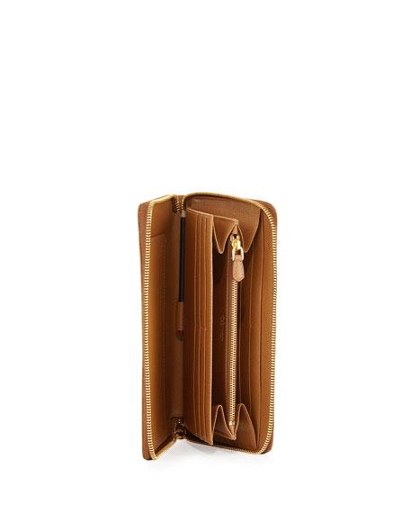Saffiano Metal Oro Travel Wallet, Caramel (Caramel)