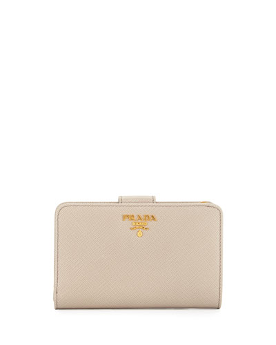 Prada Saffiano Metal Oro Bi-Fold Wallet, Light Gray