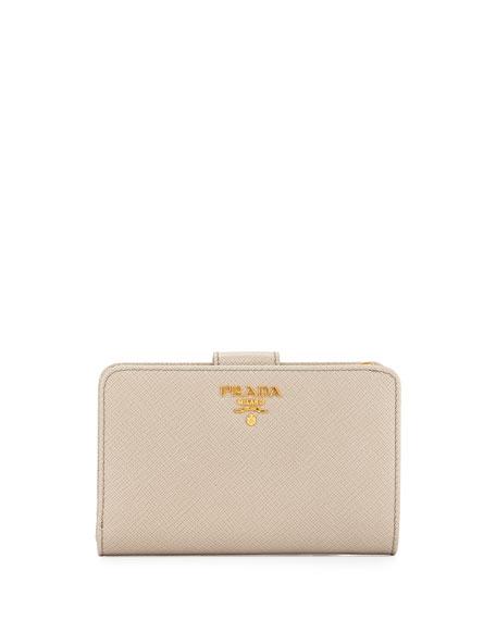 Prada Saffiano Metal Oro Bi-Fold Wallet, Light Gray