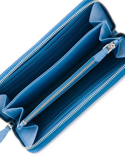 prada saffiano leather oro zip-around wallet
