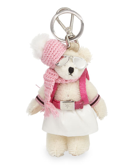 Prada Bear Backpack Charm, White/Pink (Bianco)