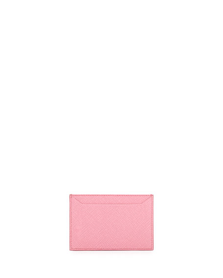 Saffiano Metal Oro Card Case, Pink (Begonia)