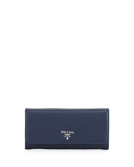 Prada Vitello Phenix Flap-Over Wallet, Dark Blue (Baltico)