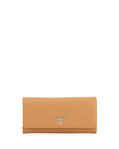 Vitello Phenix Flap-Over Wallet, Caramel (Caramel)