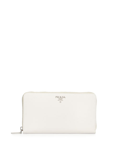 Prada Saffiano Metal Oro Travel Wallet, White (Talco)