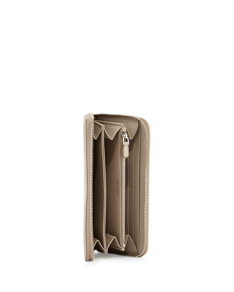 Vitello Phenix Zip-Around Wallet, Light Gray (Pomice)