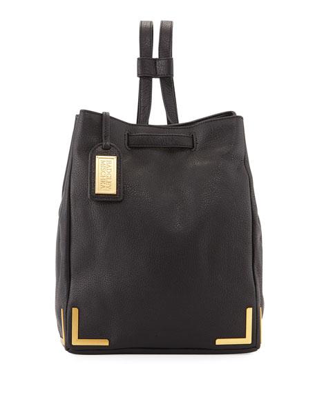 Badgley Mischka Linda Pebbled-Leather Backpack, Black