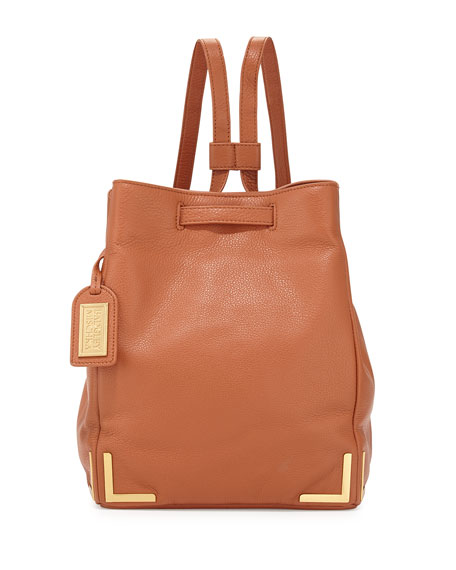 Badgley Mischka Linda Pebbled-Leather Backpack, Cognac
