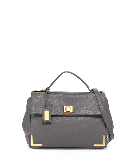 Badgley MischkaLinda Leather Satchel Bag, Charcoal