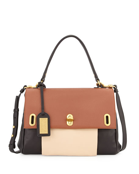 Badgley Mischka Anne Colorblock Leather Satchel Bag, Black/Latte/Cognac