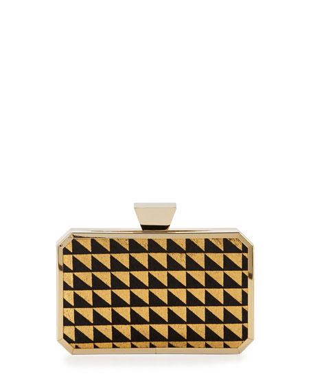 Badgley Mischka Greta Geometric-Print Calf-Hair Minaudiere Evening Clutch Bag