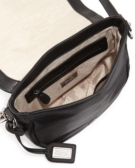 Khloe Zebra-Print Calf-Hair & Leather Crossbody Bag, Black/Natural
