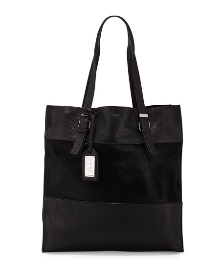 Badgley Mischka Liv Calf-Hair/Leather Tote Bag, Black