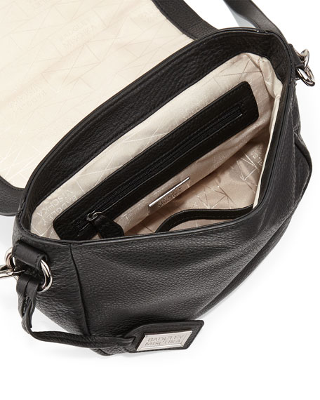 Khloe Crocodile-Embossed Leather Crossbody Bag, Black