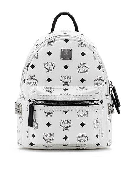 MCM Stark Visetos Small Side-Stud Backpack, Pink