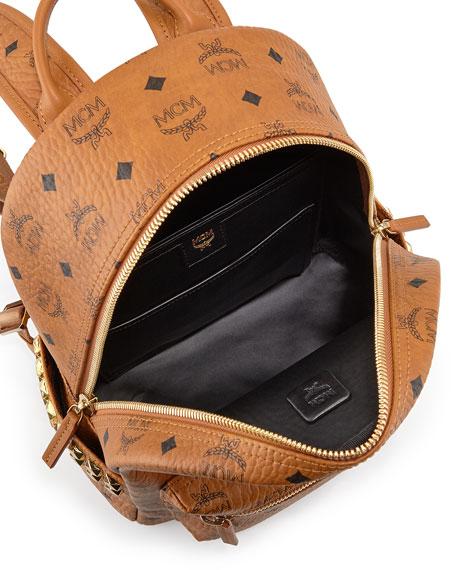 Stark Visetos Side-Stud Small Backpack, Cognac