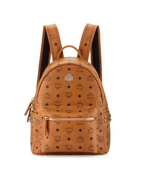 MCM Stark Visetos Side-Stud Small Backpack, Cognac