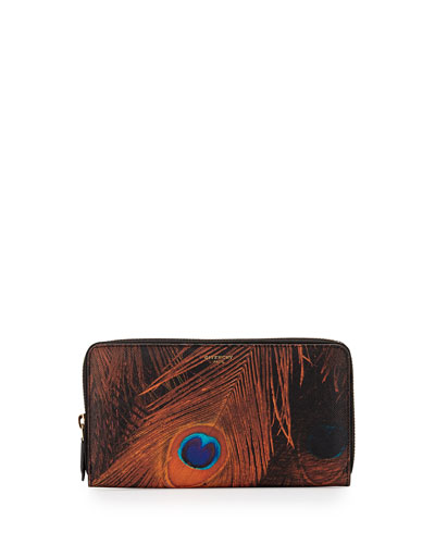 Peacock-Feather-Print Large Zip Wallet