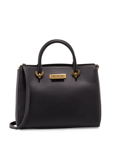 Eartha Leather Barrel Satchel Bag, Black