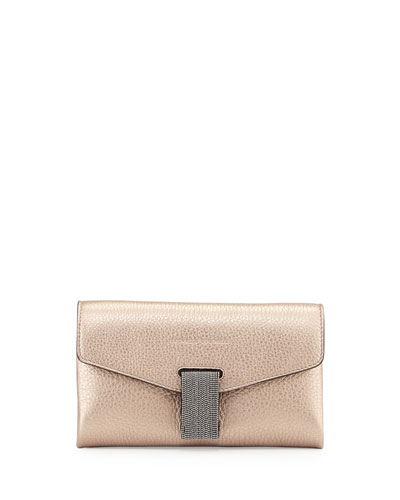 Mini Envelope Crossbody with Monili Closure, Rose Gold