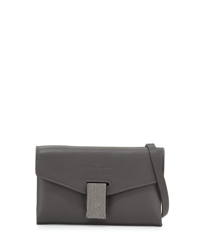 Mini Envelope Crossbody with Monili Closure, Dark Gray