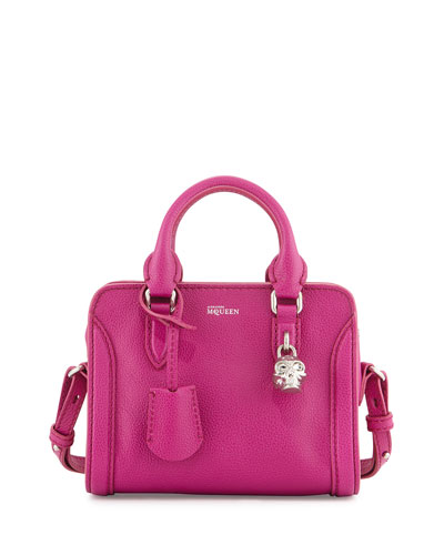 Mini Padlock Satchel Bag, Magenta