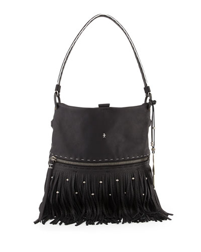 Henry Beguelin Andy Leather Fringe Shoulder Bag, Black