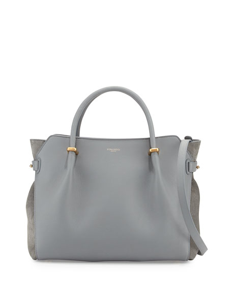 Nina Ricci Marche Leather Medium Tote Bag, Gray