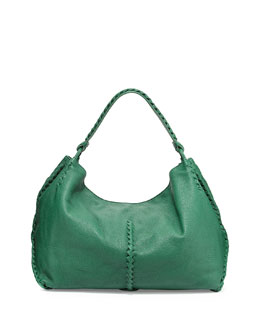 Deerskin Woven-Trim Large Hobo Bag, Green