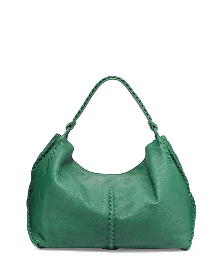 Bottega Veneta Deerskin Woven-Trim Large Hobo Bag, Green