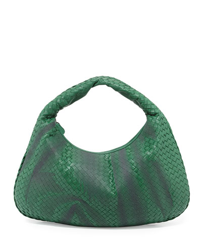 Veneta Large Shadow-Embroidered Hobo Bag, Kelly Green
