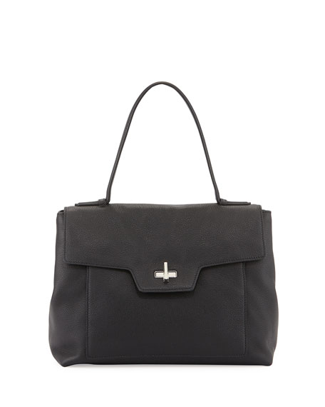 prada brown nylon tote - Prada Medium Leather Half-Flap Satchel Bag, Black (Nero)