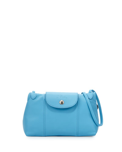 Le Pliage Cuir Small Crossbody Bag, Cornflower