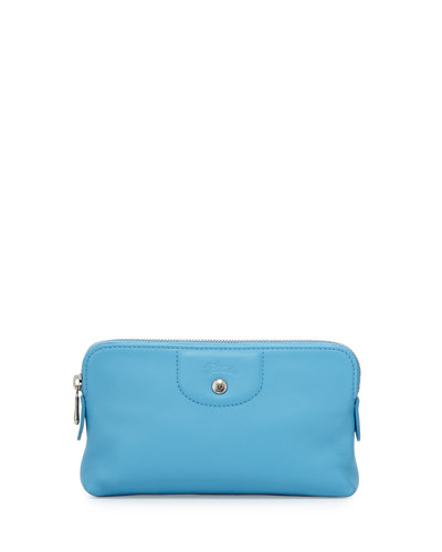 Le Pliage Cuir Cosmetics Case, Cornflower