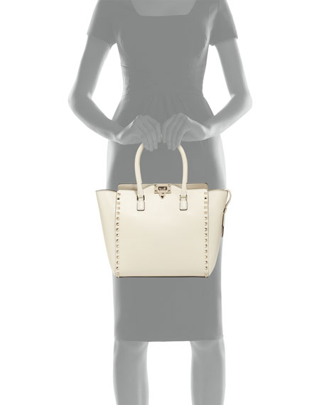 Rockstud Medium Shopper Bag, Light Ivory