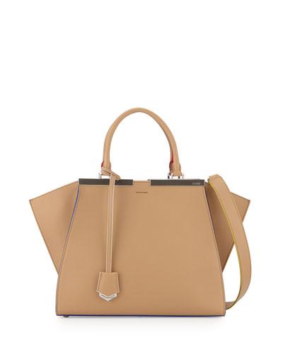 Fendi 3 Jours Leather Satchel Bag, Beige